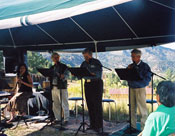 Lauren Pelon, Ted Chamberlin, Gary Holthaus, David Chrislip, Circling Back Readers Theatre, Wetmore Stillpoint, Sept. 2004